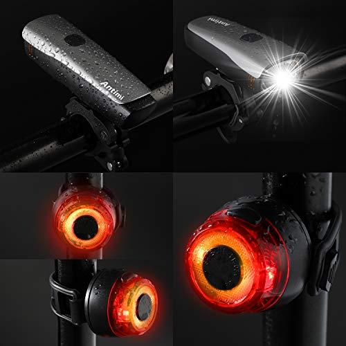 Antimi Fahrradlicht Led Set, LED Fahrradbeleuchtung mit 2 Licht-Modi, StVZO-Zulassung, Frontlicht und Rücklicht/Rotlicht, IPX5 Regen- und stoßfest Fahrrad Licht 2600mAh - 4