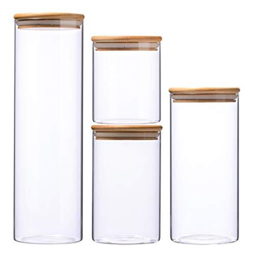 Leaf House Glasbehälter Φ10cm Vorratdosen Vorratsglas aus Borosilikatglas mit Bambus-Deckel, geeignet für Lebensmittel (Set of 4)
