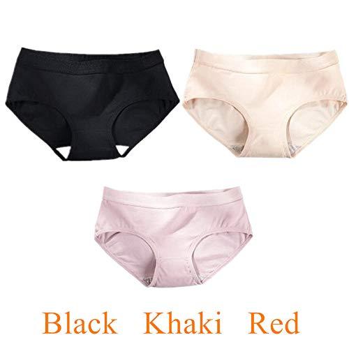 3 Stück Höschen für Frauen Baumwolle einfarbig Atmungsaktive Unterwäsche Damen Dessous Damen Slips Unterhosen-E_M
