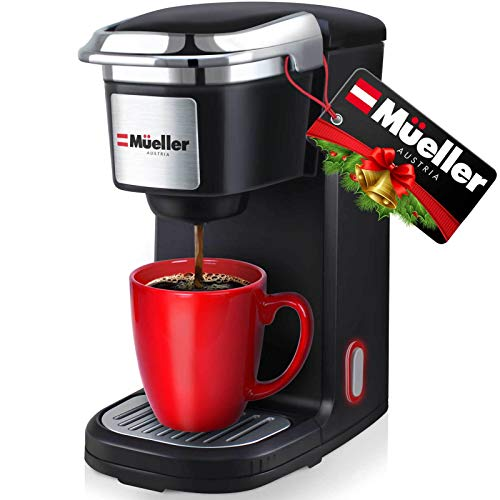 Mueller Ultimate Single Serve Coffee Maker, Personal Coffee Brewer Machine for Single Cup Pods & Reusable Filter, 10oz Water Tank, Quick Brewing, One Touch Operation, Compact Size,for Home,Office, RV