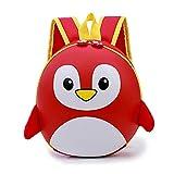 Sac à Dos pour Enfants Étanche à Dos pour Enfants Mini Sac en Plein Air Bandoulière Réglable Pingouin de Dessin Animé 3D Mignonne Cartable pour Maternelle Préscolaire 2-6ans Enfant Red-27*12.5*10CM