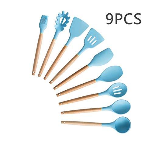 9/11/12/13 Ustensiles de cuisine en silicone poignée en bois Set de cuisine Outils de cuisine Ensembles Accessoires avec la boîte en acier inoxydable Stockage (Color : BLUE 9PCS A)
