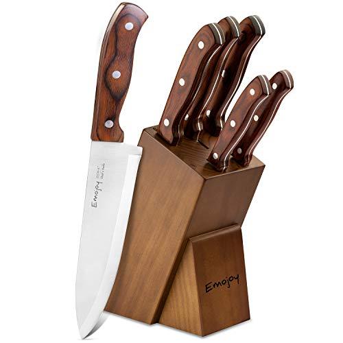 Emojoy Messerblock, 6-TLG Messerset mit Block, Küchenmesser Set, Profi Kochmesser mit Holzgriff, Edelstahl Messer, braun