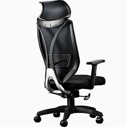 HZYDD Computerstuhl, Home Business Office Stuhl, ergonomischer Spielstuhl, Weiß, Weiß, Farbname: Weiß (Color : Black)