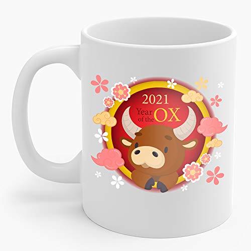 2021 Happy Chinese Lunar New Year Of The Ox Taurus Tattoo Design 11oz Coffee Mug Printed White Ceramic Tea Cup Cute Girlfriend Presents Ideas Fun Saying Cups