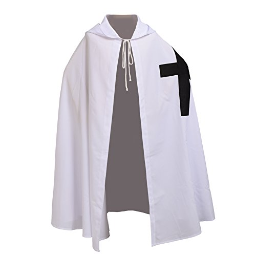 BLESSUME White Medieval Knight Templar Cloak Hooded Cape Cosplay Robe