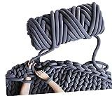 Arm Knit Yarn for Chunky Braided Knot Throw Blanket DIY, 2.5lb Cozy Jumbo Extra Cotton Tube Bulky Giant Yarn For Weave Craft Crochet (Dark Grey, 2.5 lbs)
