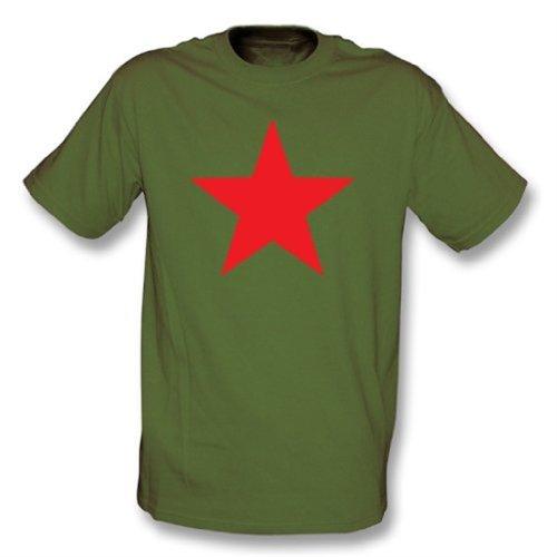 TshirtGrill Estrella roja (según lo Llevado por Michael Stipe de R.E.M.) Camiseta Grande, Color Olive Green