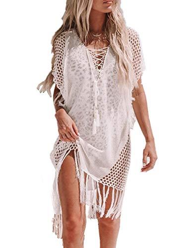 L-Peach Dames V-hals Crochet Bikini Cover Up Zomer Haken Kwasten Tuniek Pareo Beachwear Strandjurk Zomerjurk Eén Maat
