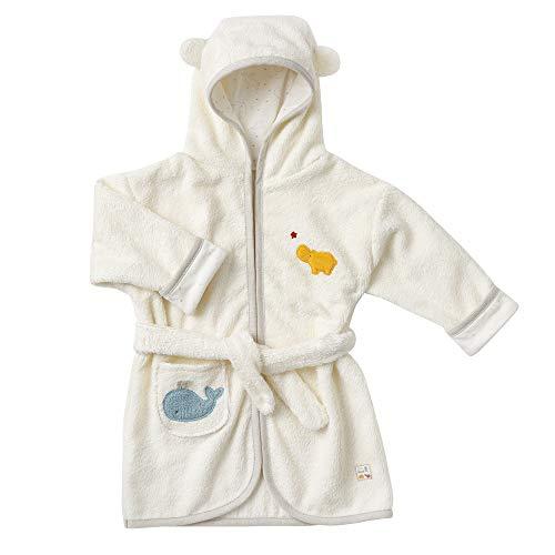 Fehn 056464 Bademantel fehnNATUR – Kuscheliges Kapuzen-Handtuch mit Tiermotiv aus 100% Bio-Baumwolle – Für Babys und Kleinkinder ab 6+ Monaten – Größe: 80 cm
