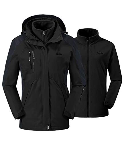 donhobo Damen Outdoor 3-in-1 Skijacke Zweiteilige Winterjacke mit Fleecejacke Winddicht Wasserdicht Freizeitjacke Warm Mantel Jacke mit Kapuze Schwarz XL