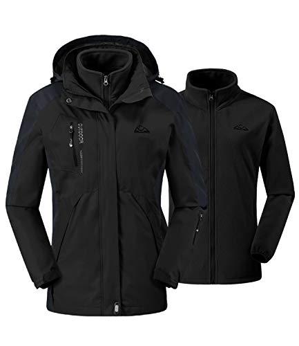 donhobo Damen Outdoor 3-in-1 Skijacke, Zweiteilige Winterjacke mit Fleecejacke, Winddicht Wasserdicht Freizeitjacke Warm Mantel Jacke mit Kapuze Schwarz M