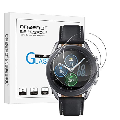 (3 Pack) Orzero Tempered Glass Screen Protector Compatible for Samsung Galaxy Watch 3 (45mm), Garmin Forerunner 45, Forerunner 45S, 2.5D Arc Edges 9 Hardness HD Anti-Scratch Bubble-Free (Lifetime Replacement)
