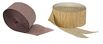 Brown and Metallic Gold Crepe Paper Streamers 2 Rolls Each