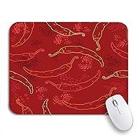 NINEHASA 可愛いマウスパッド グリーンスパイシーレッドチリペッパーパターンイエローメキシコハラペーニョノンスリップラバーバッキングマウスパッド用ノートブックコンピュータマウスマット