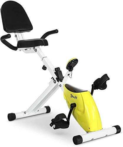 Folding Recumbent Exercise Bike with Back Seat, Doufit EB-08 Recumbent Exercise Bike for Adults with Monitor