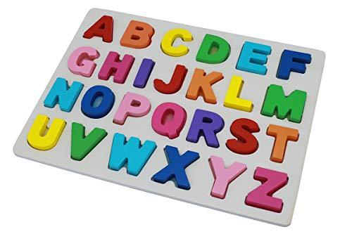 Afunti Tablero del Rompecabezas del Alfabeto de Madera Letras del ABC Juguetes de Aprendizaje Alfabeto de Mayúsculas para niños pequeños y niños