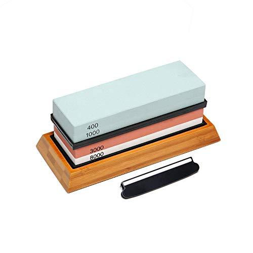 Messerschärfstein, 400/1000 3000/8000 beidseitiger Sandstein, professioneller Chef-Schleifstein-Spitzer, rutschfeste Bambusbasis und Winkelführung - Perfektes Werkzeug zum Polieren von Küchenmessern