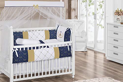Royal Bear Theme Navy Blue/Gold/White Baby Boy 7 Pcs Embroidered Nursery Crib Bedding Set Bumpers + Sheet Set + Changing Pad