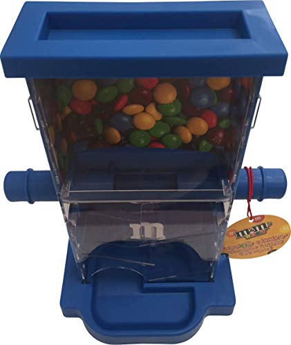 M&M Candy Dispenser ZIG ZAG with Storage Area, a Dispensing Bar and a Drog Area to Dispense Candies (Blue)