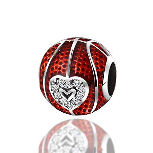 Charm a forma di pallacanestro in vero argento Sterling 925 con ciondoli a forma di pallone da calcio, per braccialetti da donna Pandora e Argento, colore: Love Red - Ciondoli da basket, cod. YS-C1506