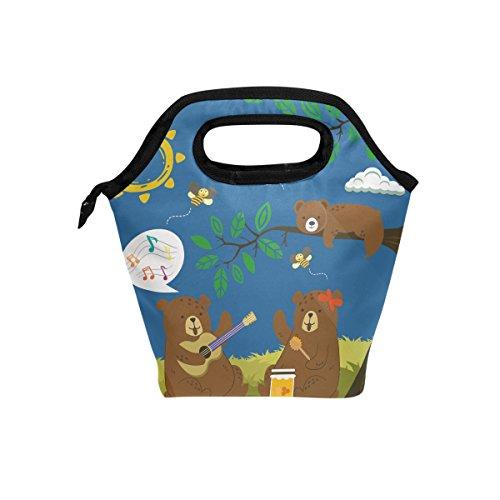 Cute Animal Ours Bleu repas isotherme Sac fourre-tout pour femme Lunch Box Cooler avec fermeture à glissière pour adultes/enfants filles, garçons, hommes