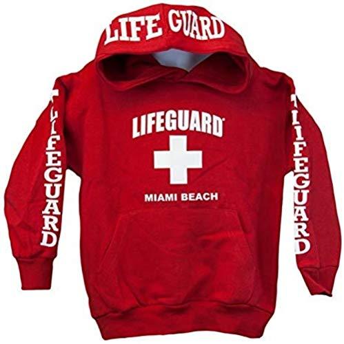 Lifeguard Kids Miami Beach Florida Life Guard Sweatshirt Red Hoodie-XS