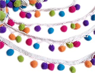 YYCRAFT Rainbow Pom Pom Ball Fringe Trim Ribbon Sewing(5 Yards)