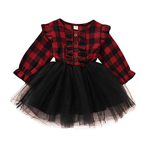 Aoliandatong Baby Girls Cute Red Grid Yarn Ruffle Sleeve Dress Splicing Christmas Skirt(90 Red)