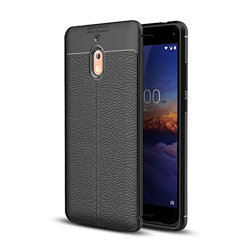 Cruzerlite Nokia 2.1 Coque, Flexible Slim Case with Leather Texture Grip Pattern and Shock Absorption for Nokia 2.1 (Black)