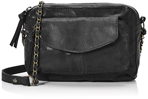 PIECES Pcnaina Leather Cross Over, Bandolera para Mujer, Negro (Black), 5,5x14x20 centimeters (B x H x T)