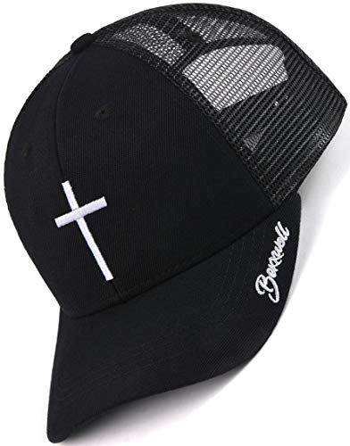 Bexxwell Trucker Cap schwarz mit Kreuz-Stickerei (optimale Passform, Kappe, Black, Truckercap, Cross, Cap, Unisex)