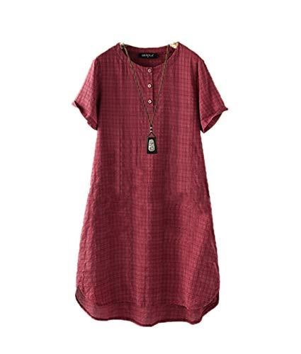 SMTM Damen Rundhals-T-Shirt Plus Size Retro Plaid Loose Casual Cover Up Kleid (L, Rotwein)
