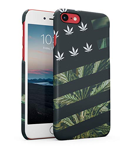Hülle Hardcase Kompatibel mit iPhone 7/8 / SE 2020 Weed 420 Unkraut Drogen Marihuana Cannabis Leaves Drugs Stay High Psdy Marijuana Leaf Chill Relax Stripes eng Anliegendes Dünnes Handyhülle