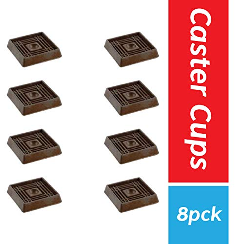 "Furniture Caster Cups for Carpet and Finished Surfaces 2"" Square Rubber AntiSlip Wheel Grippers Floor Protectors 8 Pack Brown"