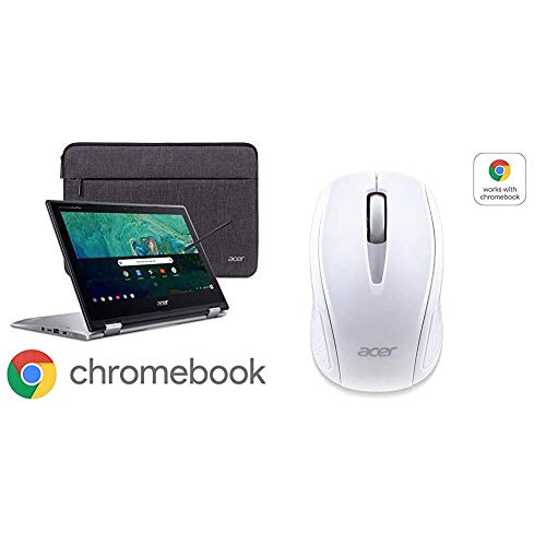 Acer Chromebook Spin 11 Convertible Laptop, Intel Celeron N3350, 11.6' HD Touch Display with Acer Wireless White Mouse M501 - Certified by Works with Chromebook