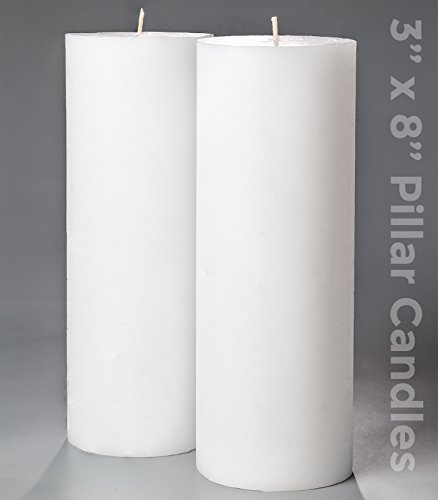 3' x 8' White Pillar Candles Set of 2 Unscented for Weddings Home Decoration Church Restaurant Spa Smokeless Cotton Wick