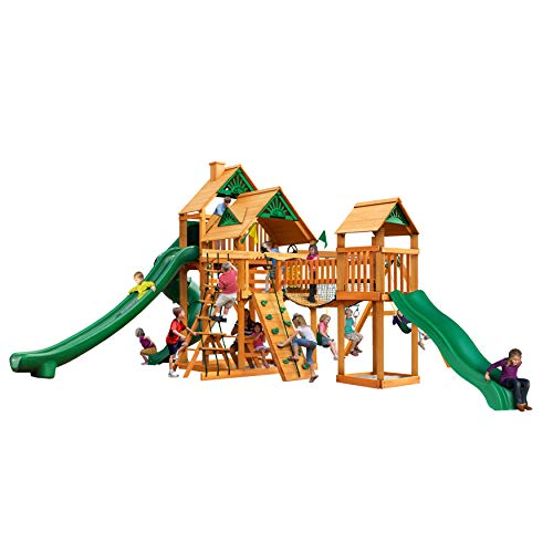 Buy Gorilla Playsets 01-1034-AP Treasure Trove II Wood Swing Set with Wood Roof, 3 Slides, and Clatt...