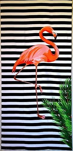 Goods4good Toalla Playa Piscina Secado Rápido 150x70cm Ligera Flamencos Palmeras Tabla Surf Verano Mujer Hombre Niña (Blanco y Negro, 150x70)