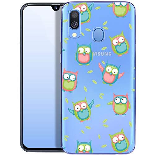 QULT Handyhülle kompatibel mit Samsung Galaxy A40 Hülle transparent dünn Silikon Schutzhülle durchsichtig Bumper Case für Samsung A40 A405FN mit Motiv Vögel Eule