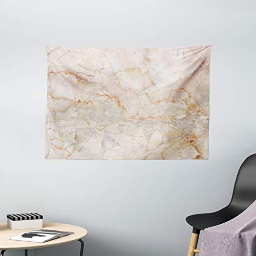 ABAKUHAUS Marmor Wandteppich, Mine Frakturen Stains, Wohnzimmer Schlafzimmer Wandtuch Seidiges Satin Wandteppich, 150 x 100 cm, Orange Sand Braun