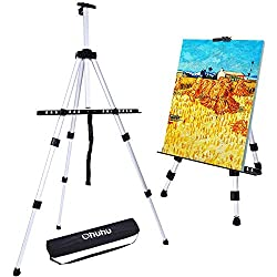 Artist Easel, Ohuhu 66 Aluminum Field Easel Stand with Bag for Table-Top/Floor, Art Easels with Adjustable Height from 21-Inch to 66-Inch Back to School Art Supplies Great Gift for Student Children