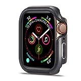 FAAGFC Funda para Apple Watch 6, 44 mm, 40 mm, ultrafina, TPU y protector de parachoques de metal, para accesorios IWatch Series 5, 4, 6 SE, color gris, diámetro de la esfera: 40 mm, serie 654 SE)