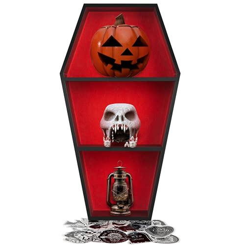 Spooky Goth Decor Coffin Shelf - Wooden Gothic Decor for Home, Black Hanging Wooden Shelf for Wall or Table Top, witchy room decor for oddities and curiosities, 50 Gothic skull witch Stickers included