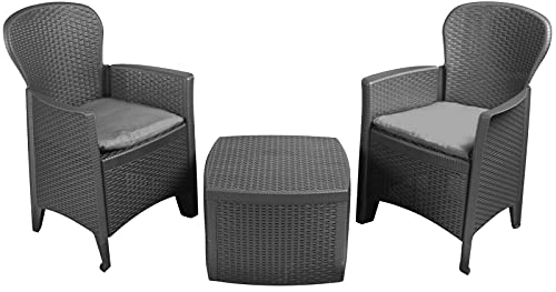 IPAE Rattan Garden Table and Chairs Set Set Of 2 Garden Chairs With Cushions & Table Patio Set