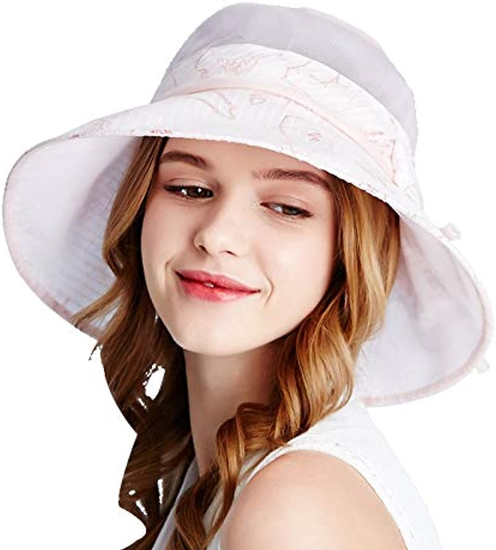 Silk Silk Female Summer Hat Sun Hat Sunscreen Big Hat Bow Sun Hat Beach Hat (color   Pink, Size   57.5cm)
