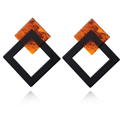 Burenqi Oorbel Vierkant Acryl Oorbel Luipaard Print Geometrische Vierkante Cirkel Hars Luipaard Lange Drop Oorbellen Voor Vrouwen