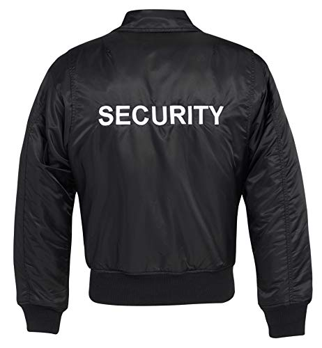 Brandit Security CWU-Jacke, schwarz mit weißem Security-Stick, Größe XXL