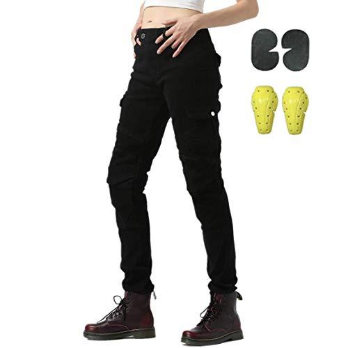 WCCI Damen Motorradhose Motorrad Jeans Biker Trousers Weiblich Motorrad Hose Fahrrad Riding Schutzhose,4 x Schutz ausrüstung (schwarz, 31W)