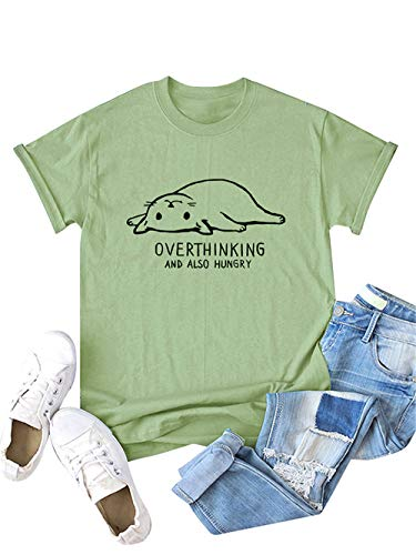 Find Bargain Festnight Women Cat Letters Print Tee Solid Color O-Neck Tops Short Sleeve Graphic Prin...